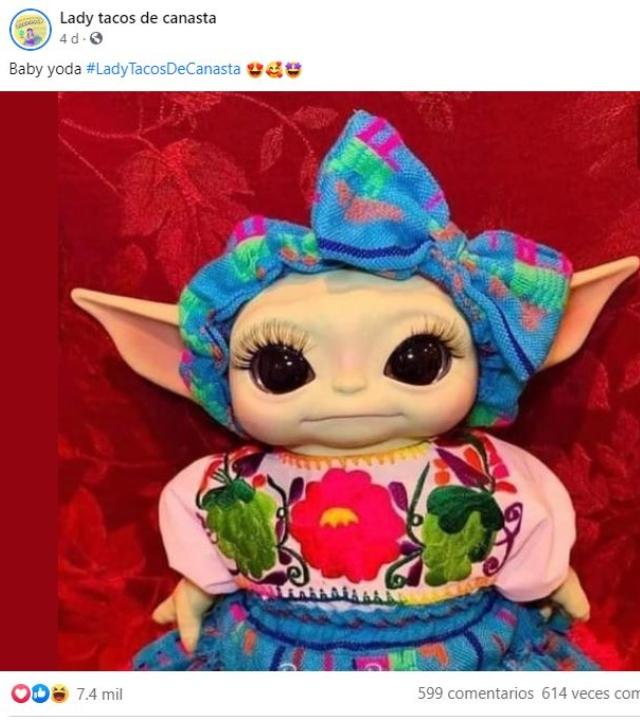 Baby Yoda con traje típico mexicano.