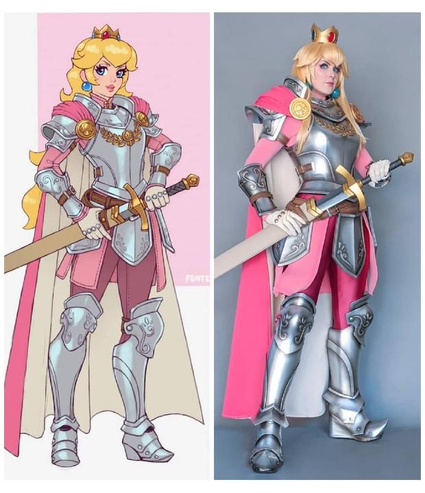 Mario Bros_ Chica recrea en cosplay un asombroso fan art de la princesa Peach portando una flameante armadura