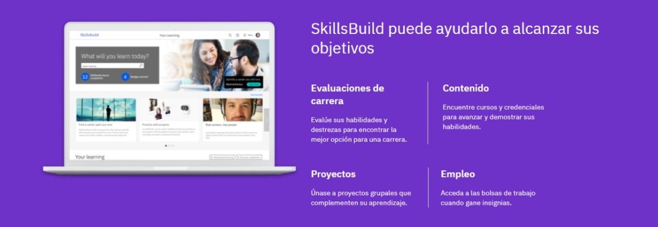 IBM plataforma SkillsBuild desarrollo habilidades trabajo