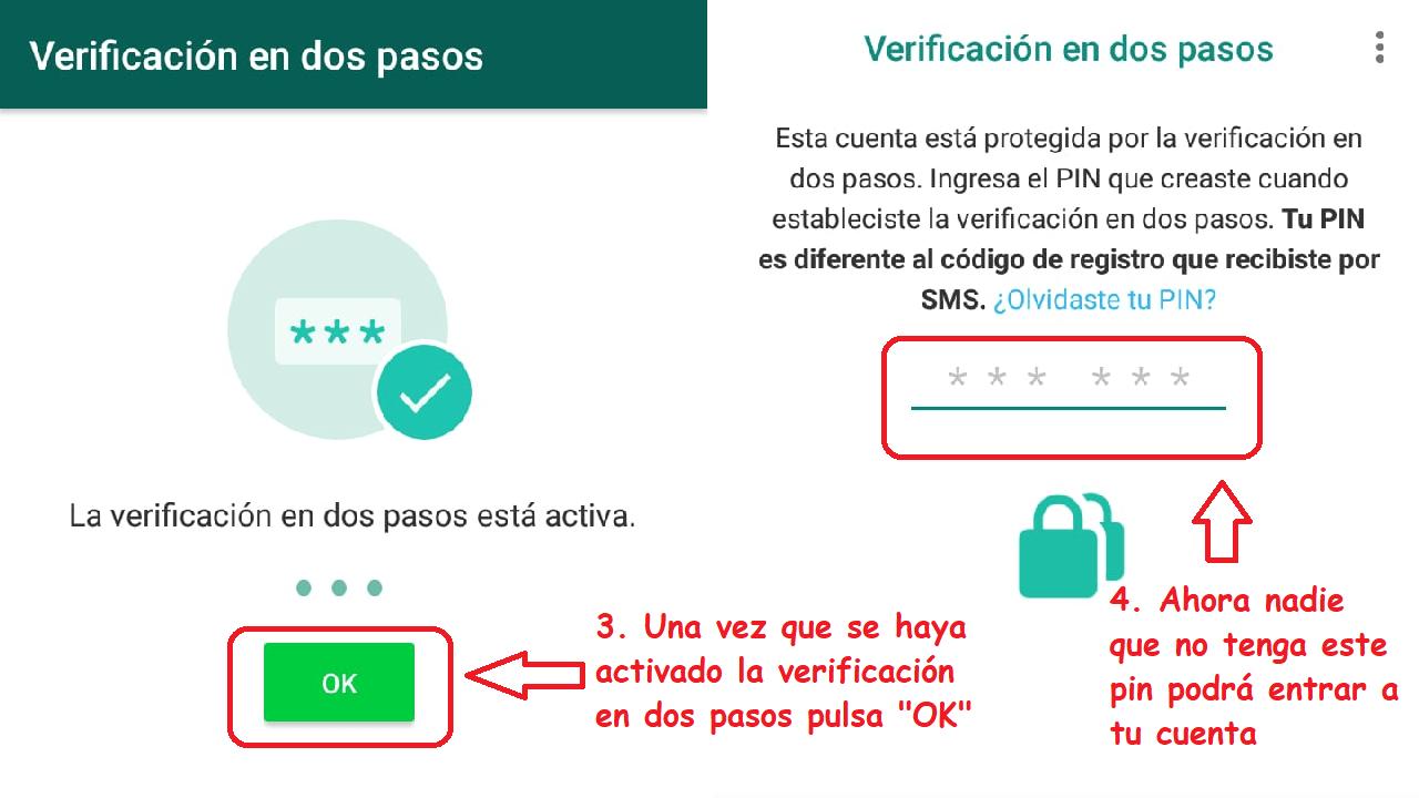 verificación en dos pasos whatsapp seguridad