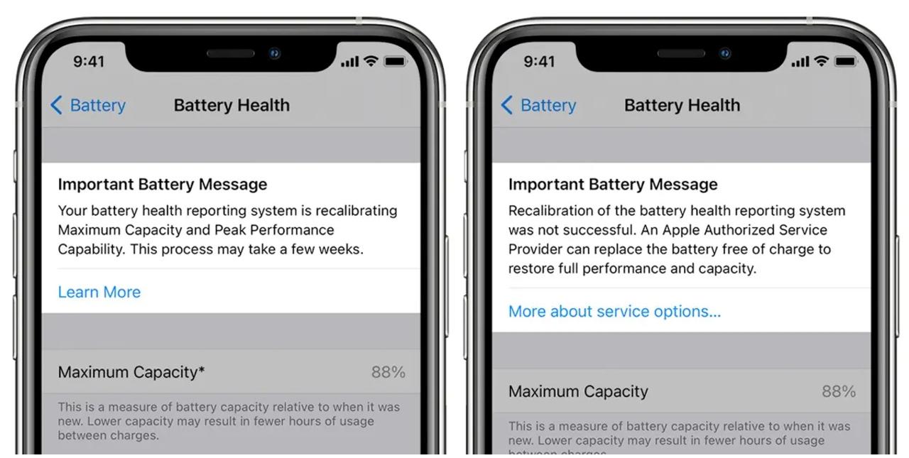 Apple iOS actualización sistema calibración batería