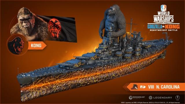 Godzilla Kong batalla actualización World of Warships