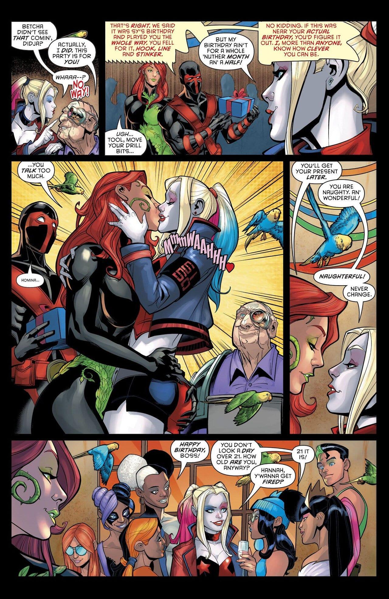 dc cómics harley quinn poison ivy beso cómic
