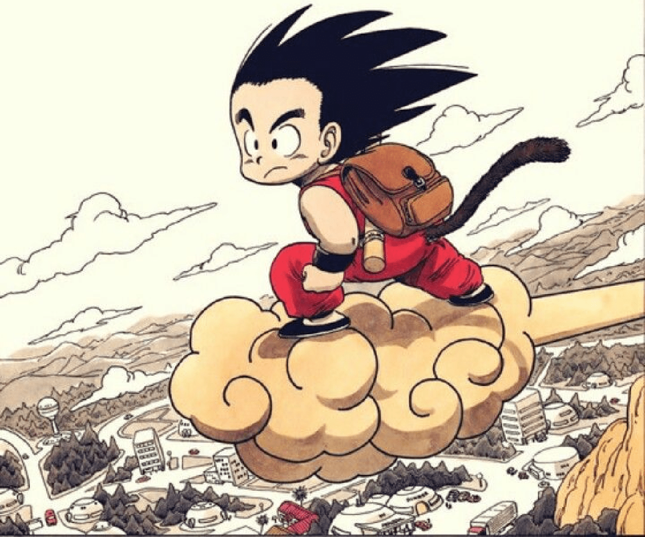 dragon ball manga goku pequeño nube voladora