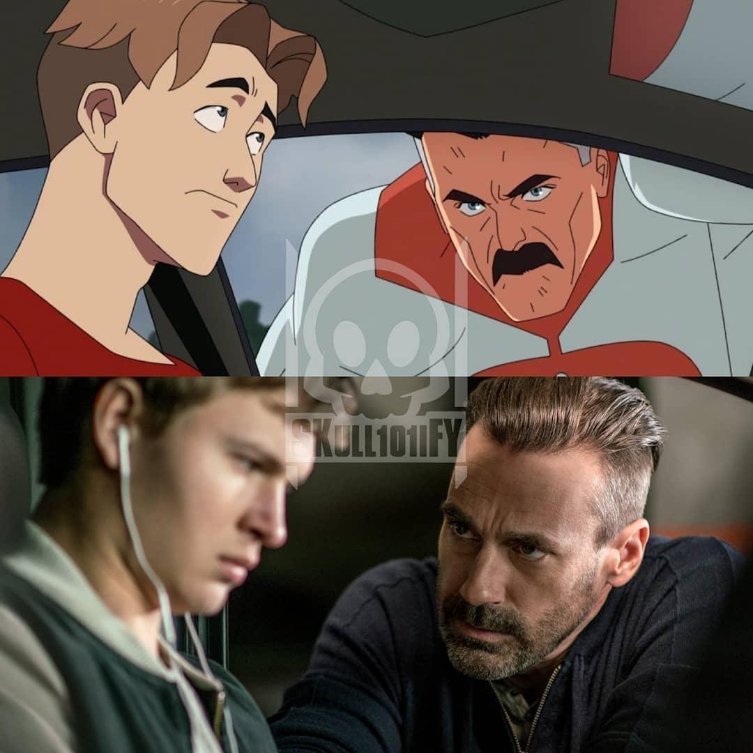 Omni-Man de un lado, Jon Hamm por el otro en Baby Driver