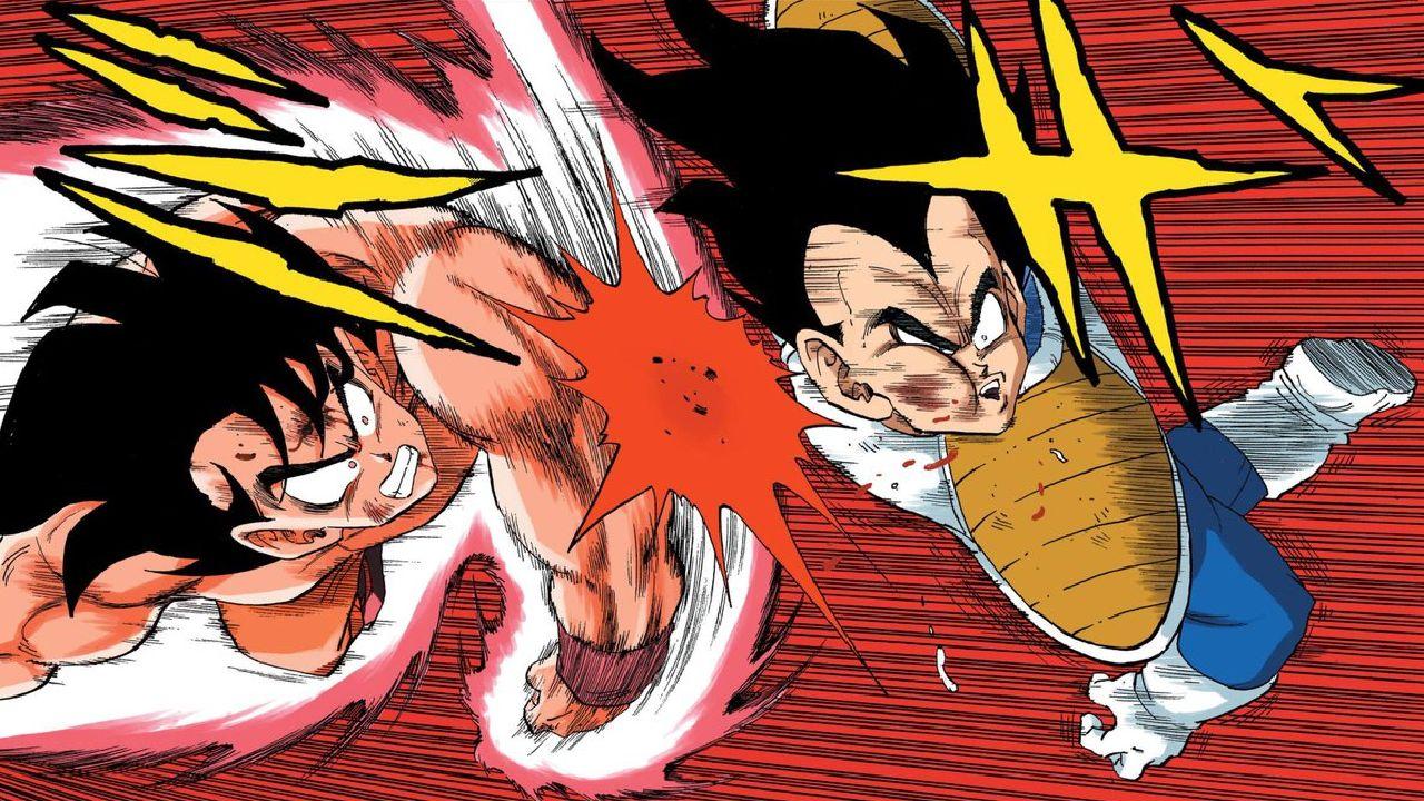 goku vs vegeta dragon ball manga color