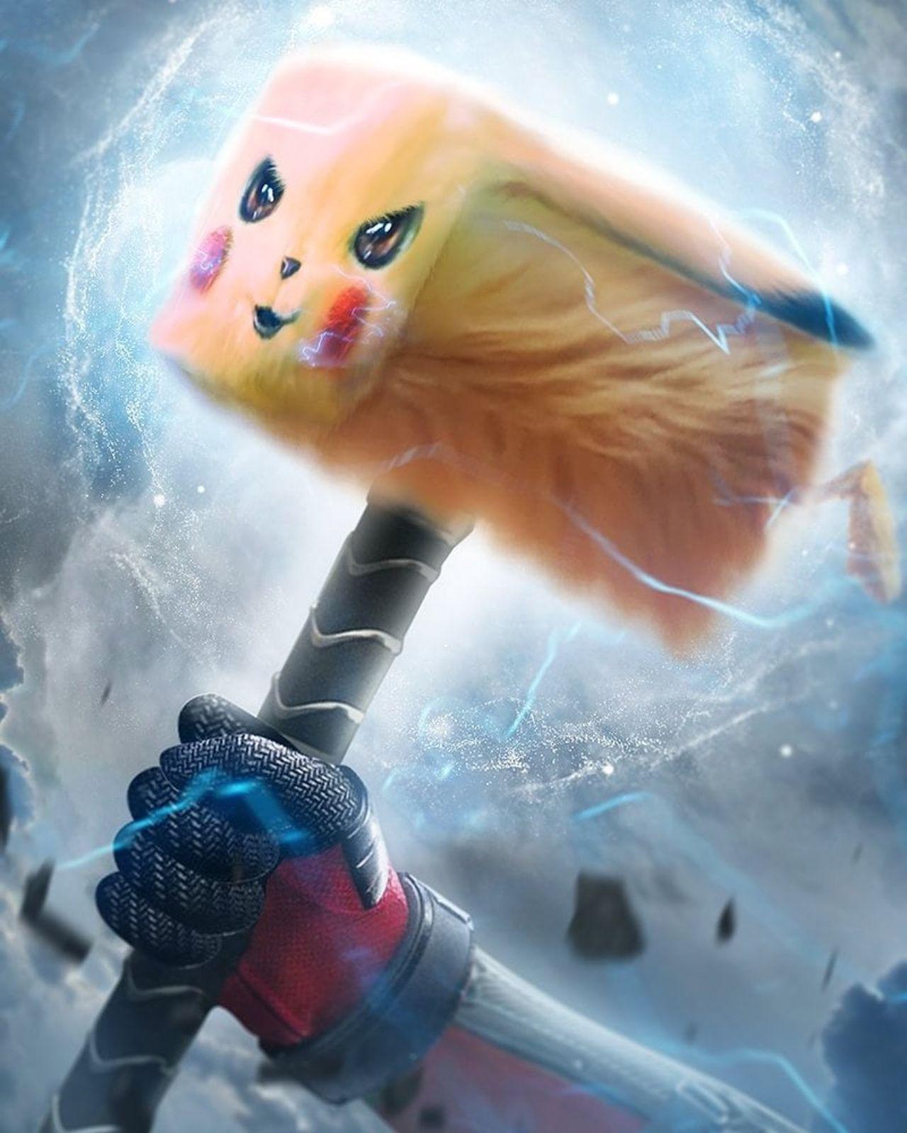 Pikachu Thor Mjolnir Marvel version