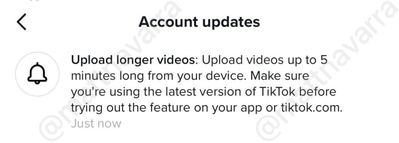 mensaje tiktok videos duración cinco minutos