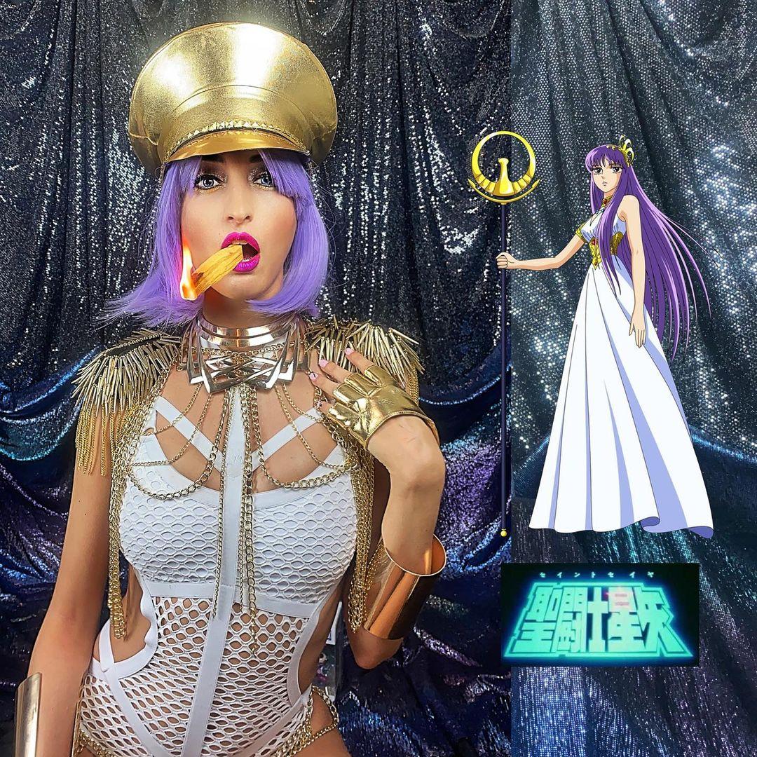 Cosplay saori kido athena diosa caballeros del zodiaco