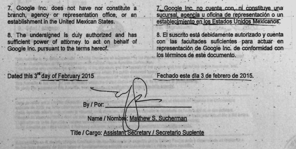 Alegaciones de Google ante demanda en Mexico