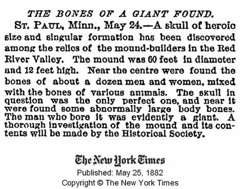Publicación del New York Times del 25 de mayo de 1882 informando de huesos gigantes encontrados. Crédito: New York Times.