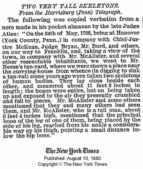 Publicación del New York Times del 10 de agosto de 1880 informando de esqueletos gigantes encontrados. Crédito: New York Times.