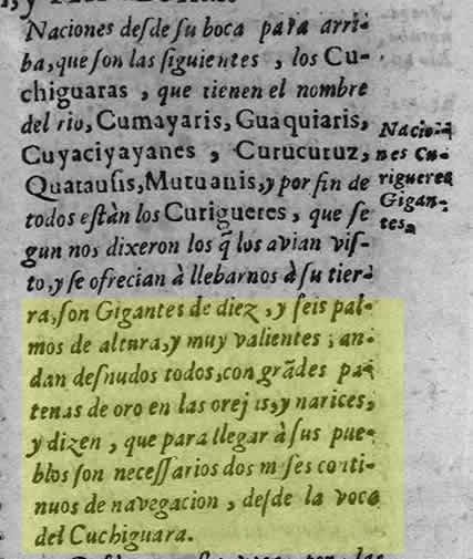 Crónica del padre Cristóbal de Acuña en donde meciona haber visto a gigantes de 10 palmos de altura.