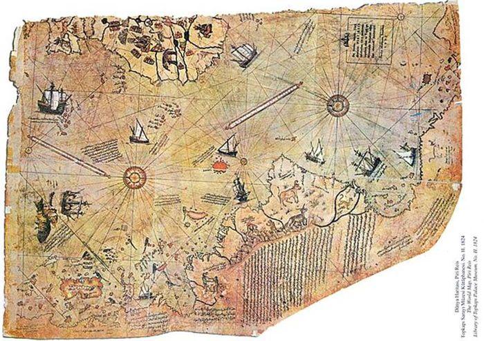 El mapamundi realizado por el almirante otomano Piri Reis en el año 1513.