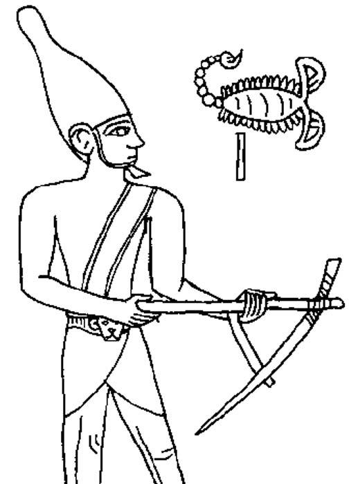 Dibujo del relieve grabado sobre la maza del rey Escorpión, Museo Ashmolean.