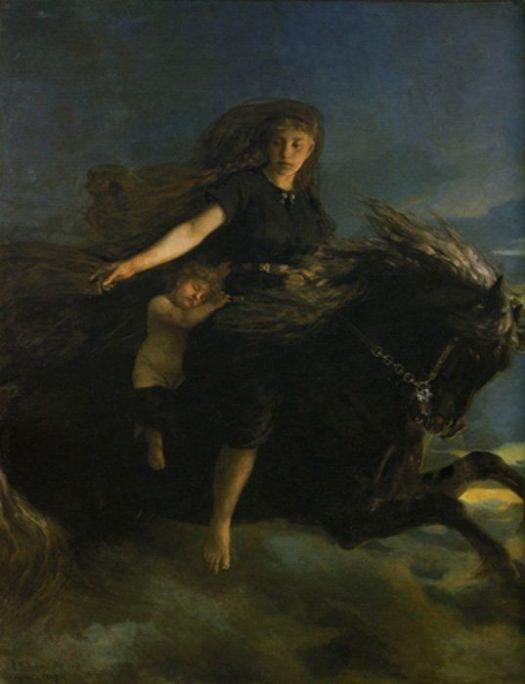 Nótt cabalga a Hrímfaxi en esta pintura del siglo XIX obra de Peter Nicolai Arbo.
