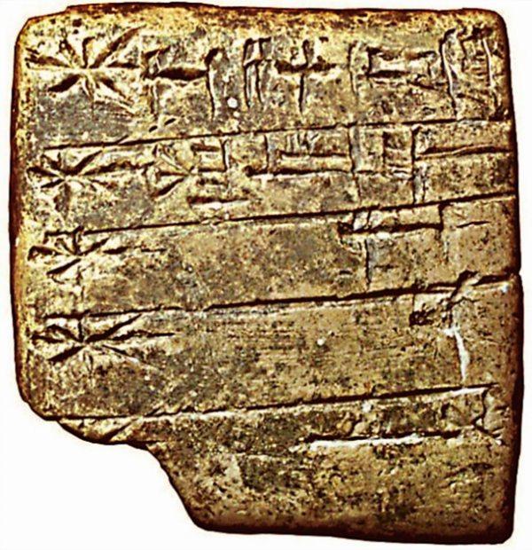 Lista de dioses sumerios en escritura cuneiforme. El nombre de Enlil aparece el primero (empezando por la esquina superior derecha), y aparece representado por el símbolo de un disco solar. (Siglo XXIV a. C.)
