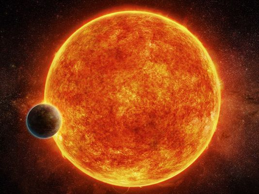 Artistic impression of the newly discovered rocky exoplanet, LHS 1140b found in the habitable zone surrounding its 'red dwarf' star.  The planet weighs approximately 6.6 times the mass of the Earth and is shown passing in front of its star.