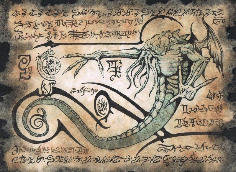 Interpretación artística de una página del Necronomicon.