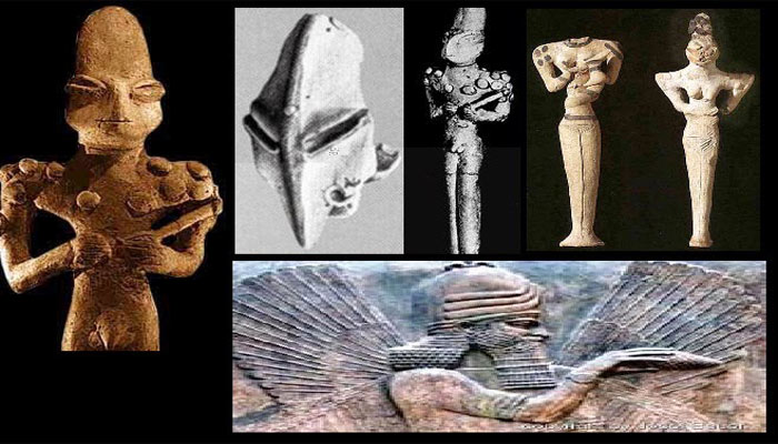 Different statuettes of Mesepotomy with their first reptile-like gods Who created the Anunnaki