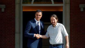 Pedro Sanchez y Pablo Iglesias en la ronda de contactos