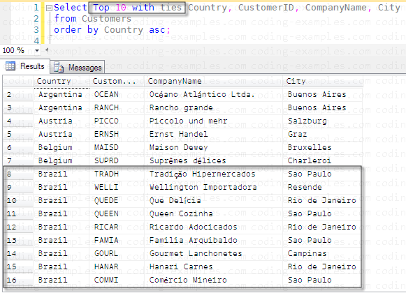 SQL Order By And Top With Ties