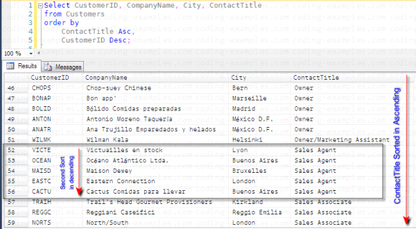 SQL Order By clause with More than one Column