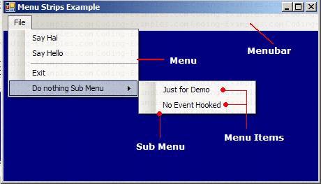 C# MenuStrip Control Example