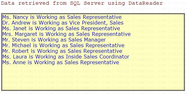 Our Example showing Data Taken From SQL Server