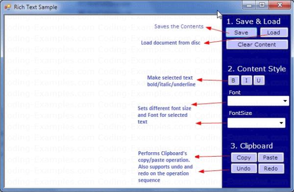 C# RichTextBox Control Example