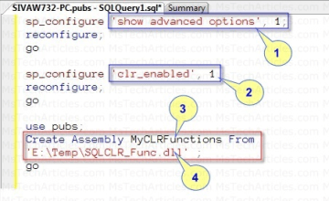 Configure SQL CLR and Create Assembly using T-SQL - Refer Code Listing 2