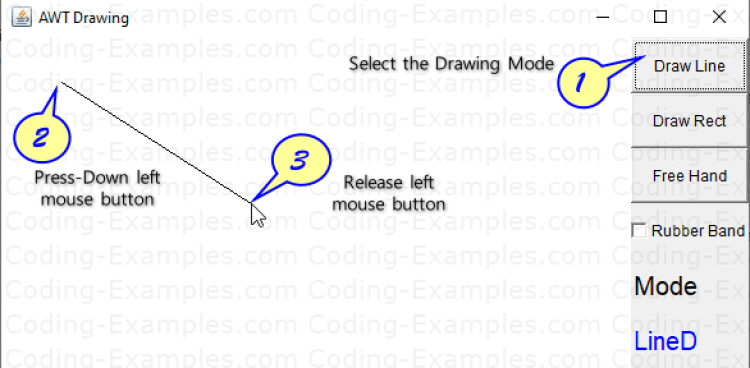 Line Drawing Java AWT Example