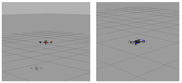 Fig.2 PX4 SITL simulation using Ardrone and Iris UAVs in action