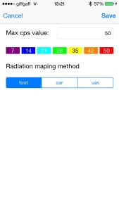 Fig.3 The map settings screen of the radiation mapping application