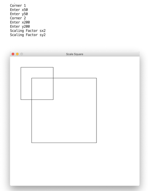 Computer graphics program to scale a square