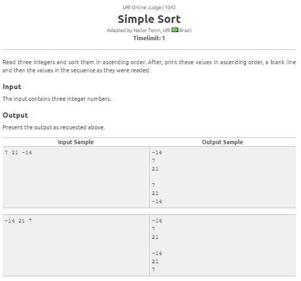 URI 1042 problem solution