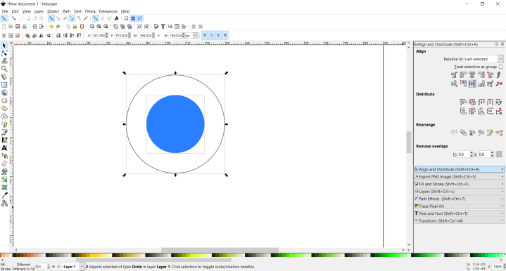 Vertical and horizontal align circles inkscape