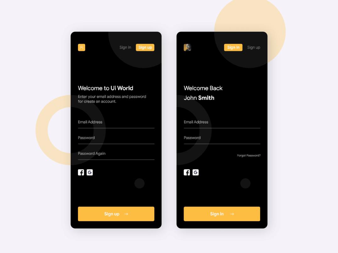 UI world login design concept mockup