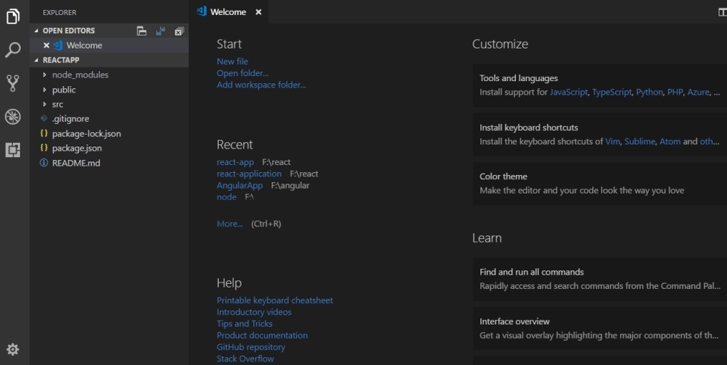react app in Visual Studio Code