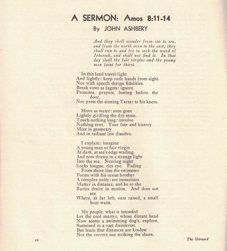 "Harvard Advocate April 1947; first Advocate publication of John Ashbery, ""A SERMON: Amos 8:11-14"