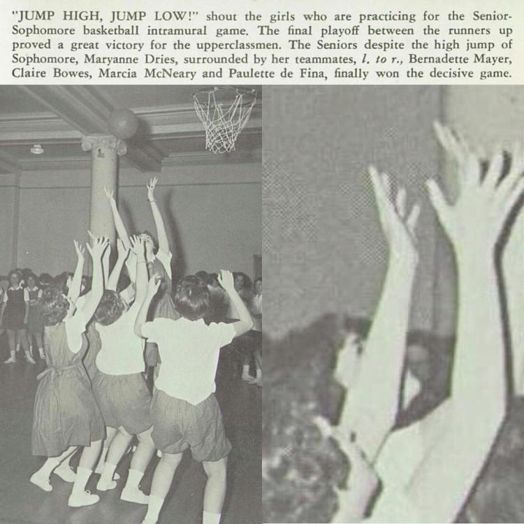 Obstructed B-Baller Bernadette Mayer, St Saviour High (Brooklyn), 1960
