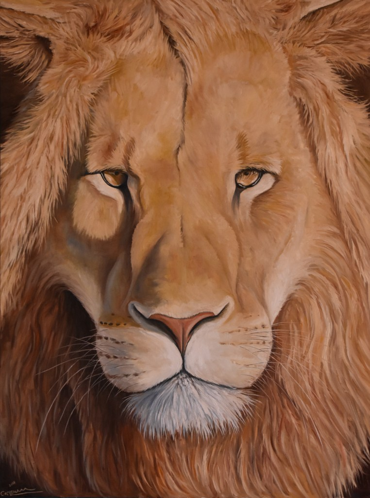 Oil painting of African lion portrait by Cody Oldham