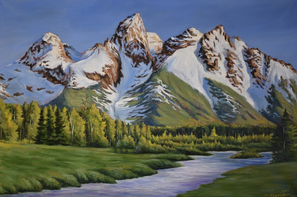 oil painting of snow-capped peaks, painting of Grand Tetons