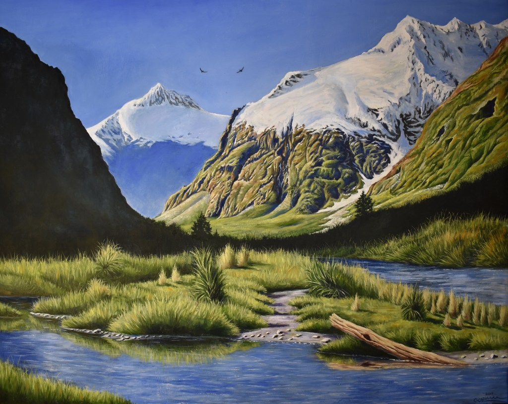 oil painting of Mt. Talbot in New Zealand landscape