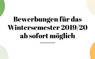 Änderung für Bewerbungen zum Wintersemester 2019/20