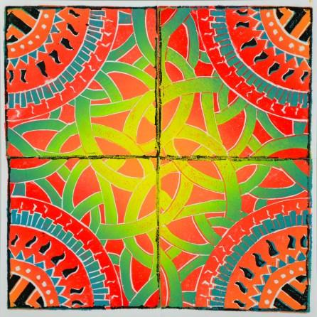 Erin Carey, Burning Maze, Reduction Print
