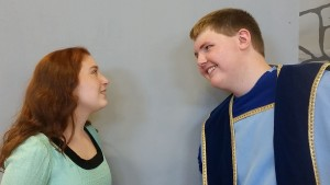 CBNA students Janais Axelrod as Princess Winnifred and Joseph Guptill as Prince Dauntless rehearse a scene from Once Upon a Mattress.