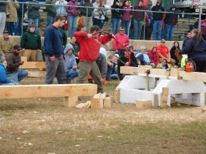 CBNA FFA members Matt Garrett and Nick Jensen compete in the Bow Saw competition at the Deerfield Fair