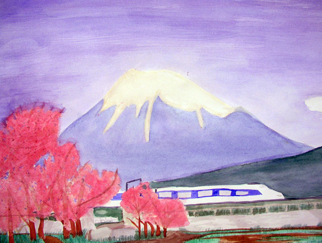 Mount Fuji, Japan by Etsuko Sato - Watercolor on Paper