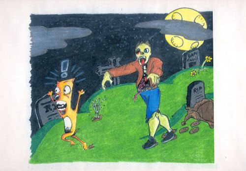 Dog vs. Paul by Nathan Wyckoff - Ink & Colored Pencil on Paper